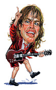 Caricatures Paintings - Angus Young by Art
