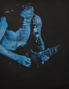 Black Angus Drawings Prints - Angus Young. Print by Breyhs