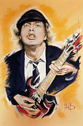 The White House Pastels Posters - Angus Young Poster by Melanie D