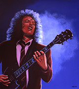 Black Art Paintings - Angus Young  by Paul  Meijering