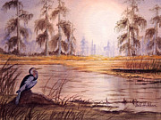 Anhinga Paintings - Anhinga At Wakulla Reserve by Bill Holkham