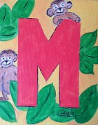 Animal Alphabet Paintings - Animal alphabet -M by Asuncion Purnell