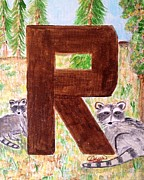 Animal Alphabet Paintings - Animal alphabet- R by Asuncion Purnell