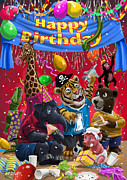 Cartoon Animals Posters - Animal Birthday Party Poster by Martin Davey