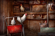 Farm Scenes Posters - Animal - Chicken - The duck is a spy  Poster by Mike Savad