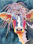 Rastafarian Paintings - Animal - Cow - Cowabonga by Deb  Harclerode