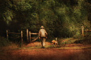 Dog Walking Posters - Animal - Dog - A man and his best friend Poster by Mike Savad