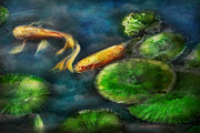 Lily Pads Posters - Animal - Fish - The shy fish  Poster by Mike Savad