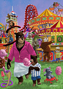 Cartoon Animals Framed Prints - Animal Fun Fair Framed Print by Martin Davey