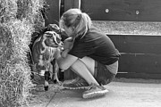 Pet Photo Prints - Animal - Goat - A girl and her goat Print by Mike Savad