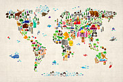 Cartoon Prints - Animal Map of the World for children and kids Print by Michael Tompsett
