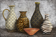 Animal Print Vase Still Life-a Print by Jean Plout