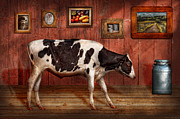 Dairy Barn Framed Prints - Animal - The Cow Framed Print by Mike Savad