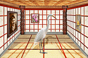 Samurai Framed Prints - Animal - The Egret Framed Print by Mike Savad