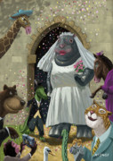 Cartoon Animals Posters - Animal Wedding Poster by Martin Davey