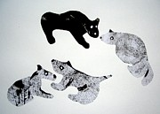 E Black Drawings Prints - Animal World 120720-4 Print by Aquira Kusume