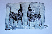 Gouache Abstract Paintings - ANIMALIA Canis No. 1 by Mark M  Mellon