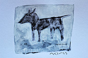 Gouache Abstract Paintings - ANIMALIA  Canis No 2 by Mark M  Mellon