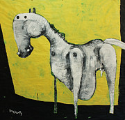 White Art Mixed Media Prints - ANIMALIA  Equos No 2 Print by Mark M  Mellon