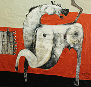 Outsider Mixed Media Prints - ANIMALIA  Equos No 3 Print by Mark M  Mellon