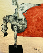 Primitive Mixed Media Prints - ANIMALIA  Equos No 5 Print by Mark M  Mellon