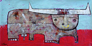 Surreal Art Mixed Media Originals - ANIMALIA  Taurus 1 by Mark M  Mellon