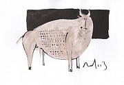 Primitive Art Drawings Prints - Animalia Taurus no. 7  Print by Mark M  Mellon