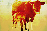Animal Digital Art Digital Art Prints - Animals Cow and Calf Print by Ann Powell