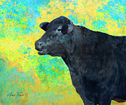 Teal And Black Mixed Media Prints - Animals Cow Black Angus  Print by Ann Powell