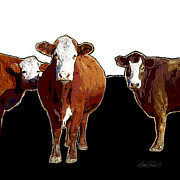 Manipulated Photography Posters - Animals Cows Pop Art Three  Poster by Ann Powell