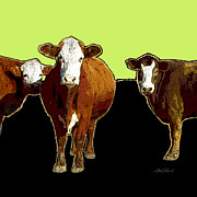 Manipulated Photography Framed Prints - animals - cows - Pop Art Three on Green Framed Print by Ann Powell