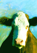Cow Mixed Media Prints - Animals Cows Sun and Shadow painting by Ann Powell Print by Ann Powell