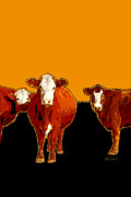 animals -cows Three Pop Art with Orange Print by Ann Powell