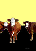 Manipulated Photography Framed Prints - Animals Cows Three Pop Art with Yellow  Framed Print by Ann Powell