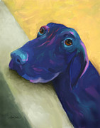 Cute Dog Digital Art - Animals Dogs Labrador Retriever Begging by Ann Powell