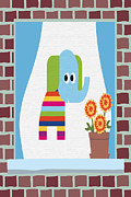 Brick Building Prints - Animals In The Window 8 Print by Angelina Vick
