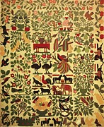 Artist Tapestries - Textiles Posters - Animals on Applique Poster by Artist Unknown