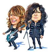 Caricature Painting Framed Prints - Ann and Nancy Wilson of Heart Framed Print by Art