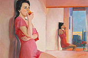Mirror Paintings - Anna eating peach by Natalia Baykalova