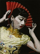 Hollywood Tapestries - Textiles - Anna May Wong Black Velvet Painting by Diane Bombshelter