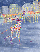 Winter Night Painting Metal Prints - Annabelle on Ice Metal Print by Rhonda Leonard
