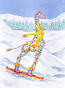 Winter Fun Paintings - Annabelle on Pow by Rhonda Leonard