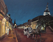 Naval Academy Paintings - Annapolis at Night Mangias by Kristin Cronic