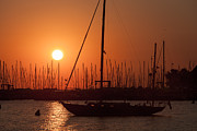 Docked Sailboats Posters - Annapolis Harbor Sunrise I Poster by Clarence Holmes