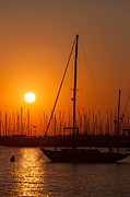 Docked Sailboats Posters - Annapolis Harbor Sunrise II Poster by Clarence Holmes