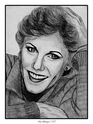 Grey Drawings Framed Prints - Anne Murray in 1983 Framed Print by J McCombie