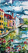 Swans... Prints - Annecy Canal and Swans France Watercolor Print by Ginette Callaway