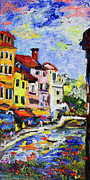 Buildings With Red Roofs Framed Prints - Annecy France Canal and Bistros Impressionism Knife Oil Painting Framed Print by Ginette Callaway