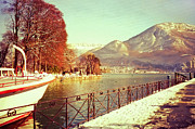 Winter Scenery Prints - Annecy Golden Fairytale. France Print by Jenny Rainbow