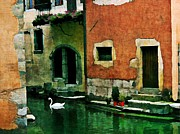 France Doors Digital Art Framed Prints - Annecy Swan Framed Print by Maria Huntley